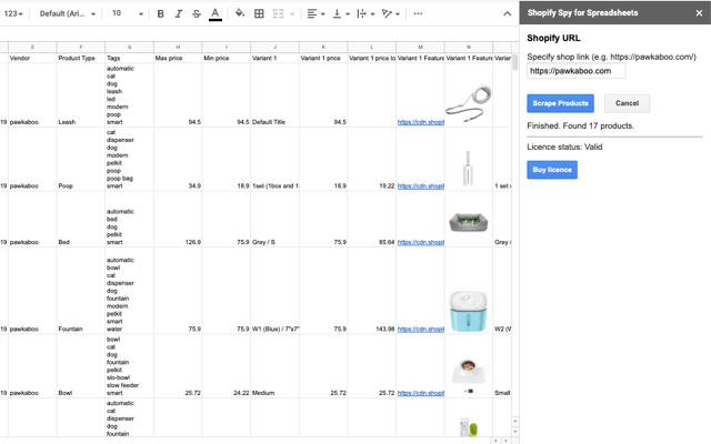Shopify Spy for Google Spreadsheets screenshot